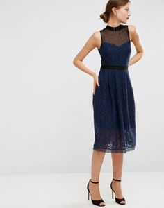 ASOS Midi Lace Skater Dress with Mesh Neck