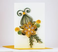 Handmade Quilling Birthday Card - Handmade Paper Greeting Card - Quilling Flower Design