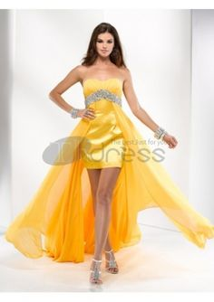 Description Sexy Chiffon & Stretch Charmeuse A-line Beaded Sweetheart Yellow High Low Short Prom Dress Fabric: Chiffon & Stretch Charmeuse Details:An illusion c High Low Prom Dresses, Cheap Prom Dresses, Homecoming Dresses, Strapless Dress Formal, Bridesmaid Dresses, Formal Dresses, Bridal Dresses, Grad Dresses, Prom Gowns