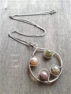 Indian agate sterling silver wire wrapped necklace by Harsh and Sweet Handmade Art, Handmade Jewelry, Unique Jewelry, Etsy Jewelry, Beaded Jewelry, Wirework Jewelry Tutorials, Memory Wire Jewelry, Diy Soaps, Indian Agate