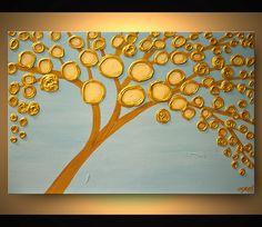 ORIGINAL Gemälde zeitgenössischer Gold Bloom Acrylgemälde schwere Spachtel Textur von Osnat
