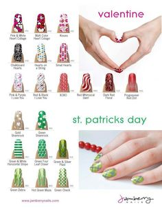 Valentine & St. Patricks day nail designs
