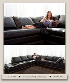 The Studio City sectional is at home in any setting. Whether in a cutting edge urban home or an old world villa, just let the leather you select finish the design. Featuring a beautiful wood base and button tufting the Studio City is the epitome of high style. Crafted in dozens of additional configurations. www.creativeleather.com Leather Furniture, Custom Furniture, Sofa, Couch, Studio City, Tufting Buttons, Chair And Ottoman, Old World, Love Seat