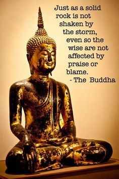 Just as a solid rock is not shaken by the storm, even so the wise are not affected by praise or blame. The Buddha.