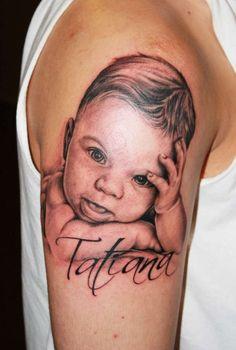 Baby Portrait Tattoo Design