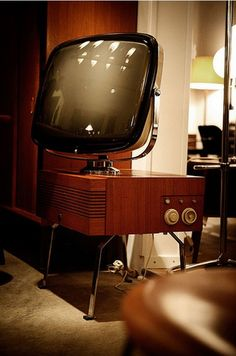 """Oh those charming good old days. Those days when TV sets were like space ships in your apartment, because these """"gadgets"""" were nearly the most prominent Tvs, Vintage Television, Television Set, Vintage Room, Vintage Tv, Radios, Poste Radio, Radio Antigua, Tv Sets"""