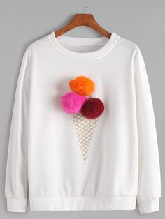 Shop White Round Neck Pom Pom Sweatshirt online. SheIn offers White Round Neck Pom Pom Sweatshirt & more to fit your fashionable needs.