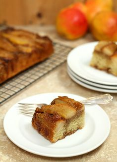 Upside Down Pear Crunch Coffee Cake