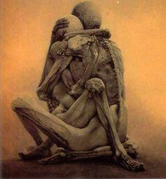 "ZDZISLAW BEKSINSKI ~ Zdzisław Beksiński * 1929-2005 * Polish * painter~photographer~sculptor * ""Skeletons"" * Contemporary art ** love ~ couple ~ skeletons"