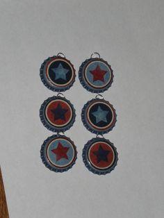 Set of 6 Primitive Rustic Distressed Blue Bottle by ChooseMoose