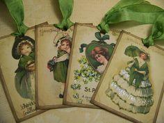 St Patricks Day Tags  Vintage Style  Set of 8 by TheNestinSLT - Etsy Find #teampinterest