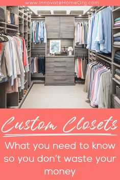 Do you think you are wasting your money on a custom closet system? We are here to provide you with some insight to help you make the right decision! | Innovate Home Org | #ColumbusCloset #ClosetDesign #CustomCloset #MasterBedroom | Master Bedroom Closet | Columbus Closets | Closet Organizations Custom Closet Design, Custom Closets, Wardrobe Design, Closet Designs, Hall Closet, Wardrobe Closet, Door Shoe Organizer, Closet Organization, Cool Shelves