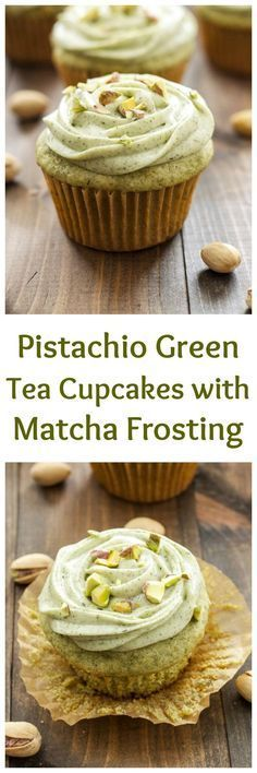 Pistachio Green Tea Cupcakes with Matcha Cream Cheese Frosting   Green tea is the perfect substitute for boxed pistachio pudding in these delicious cupcakes! via @Danae   Recipe Runner