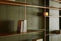 Les Fauves by Waterfrom Design - 谷德设计网 Bookcase Shelves, Wall Shelves, Shelving, Interior Design Awards, Living Room Shelves, Terrazzo Flooring, Master Room, Shelf Design, Decor Styles