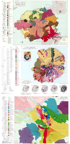 Geological maps of volcanos in Japan. Geology rocks! http://pruned.blogspot.com/2011/07/geological-maps-of-volcanoes.html