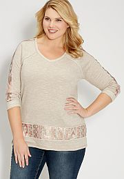 plus size french terry pullover with sequin embellishments - maurices.com
