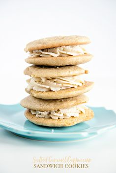 Salted Caramel Cappuccino Sandwich Cookies from dineanddish.net #CapptheNight