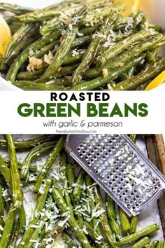 Roasted Green Beans are the perfect side dish to any meal! Green beans are tossed with olive oil and garlic, roasted until crisp tender and topped with Parmesan cheese. French Onion Salisbury Steak Recipe, Salisbury Steak Recipes, Supper Recipes, Side Recipes, Supper Meals, Low Carb Veggies, Healthy Vegetables, Creamy Green Beans, Oven Roasted Green Beans