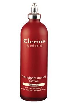 Elemis Frangipani Monoi Body Oil  This nourishing oil is rapidly absorbed by the skin. It solidifies at cooler temperatures. Place the bottle in a bowl of warm water to heat! Ive used this every day of my third tri to prevent stretch marks..so far not ONE mark!  As an added bonus, as a hair treatment I swear it heals split ends! LOVE, LOVE, LOVE!
