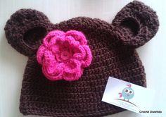 Gorrinho em crochê para meninas, feito em linha verão ou lã antialérgica, de acordo com a preferência da cliente. <br>Cores e tamanhos a combinar <br>Gorrinho ursinha baby com tapa orelhinhas