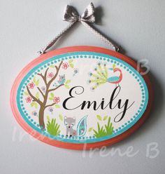Personalized painted wall plaque aqua/coral animals by evagirl12