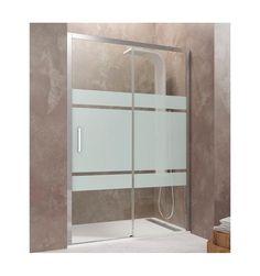 Mampara de ducha modelo AKTUAL 1 fijo + 1 corredera con decorado Frost