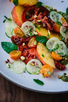 Heirloom tomato, peach and cucumber salad | Scaling Back