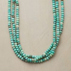 """AUSSIE OPAL NECKLACE--Faceted Australian moss opals run the gamut from lime to aqua, turquoise to teal. Lobster clasp. Handmade in USA exclusively for us. 18""""L."""
