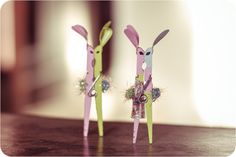 Easter Bunny Clothespin Couple via Lilyshop Blog by Jessie Jane