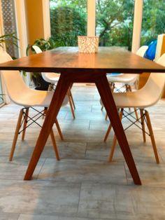 Midcentury Modern Dining Table, Custom Dining Tables, Walnut Dining Table, Wooden Tables, Dining Chairs, Dining Room, 1950s House, Rustic Farmhouse, Mid-century Modern