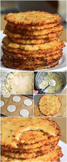 Cauliflower Parmesan Crisps — amazing cauliflower snack that kids and adult will love. All you need is a head of cauliflower, block of Parmesan cheese, dry parsley flakes, and some garlic powder. Parmesan Chips, Zuchinni Parmesan Crisps, Parmesan Recipes, Appetizer Recipes, Snack Recipes, Cooking Recipes, Appetizers, Recipes Dinner, Crockpot Recipes