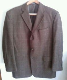 Mens Stafford Brown Window Pane Plaid Wool 3 Button mens 40R Jacket #Stafford #ThreeButton