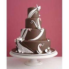 Pink Brown White Wedding Cake - Photo