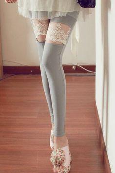 leggings, mesh, grey, lace