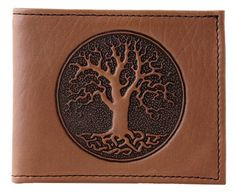 The Tree of Life symbolizes the endless circle of existence. Its branches stretch to the heavens, and its roots delve deep into the earth. On this fine wallet, the Tree has been tooled into the leather, and Celtic knotwork has been incorporated into the root designs. A stylish way to keep your money organized!   High-quality and built to last, this wallet is made of domestically-tanned bullhide. Inside, there are six card slots and two pockets, and one compartment for bills. The inside is…
