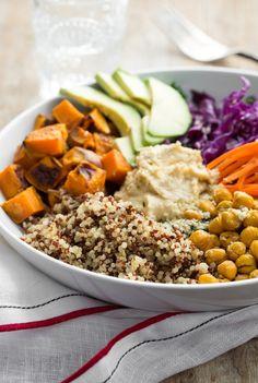 The Big Vegan Bowl: Squash, hummus, quinoa, chickpeas, carrots, avocado, greens.