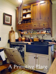 Summer 2012 A Primitive Place & Country Journal magazine. The Historic Kitchen Plan, By David T. This is the third in a series about Historic Kitchen Design. (love the concealed dishwasher. Upper cabinet very nice! Cottage Kitchen Cabinets, Cottage Kitchens, Kitchen Redo, New Kitchen, Home Kitchens, Kitchen Dining, Country Kitchens, Kitchen Doors, Kitchen Makeovers
