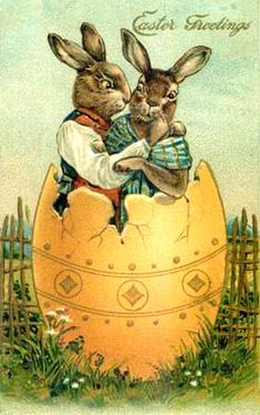 #Vintage Graphic, #Easter Bunnies...Cute graphic of a Mr. and Mrs. Easter Bunny cuddling in an Easter Egg shell.