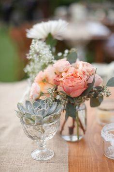 Pretty florals: http://www.stylemepretty.com/2014/09/19/fresh-farm-to-table-wedding-in-napa/ | Photography: K Stone - http://kstonephoto.com/