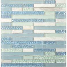 Wavy Blue Random Blue & Green Iridescent Glass Tile Bricks Glass and Stone