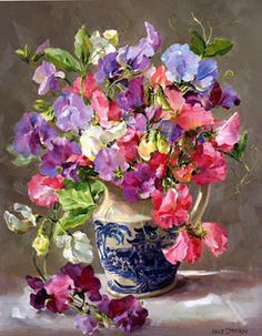 Detailed image of our Sweetpeas in a Blue and white Jug