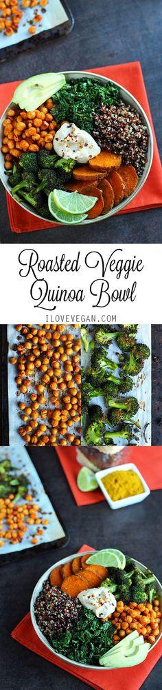 Roasted Veggie Quinoa Bowl (Ready in 30 minutes!) via ilovevegan.com