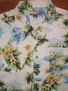 MENS XL HAVANA JACKS CAFE 100% silk HAWAIIAN SHIRT s/s PALM TREES beautiful!