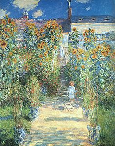 """The Steps at Vetheuil by Monet and where he painted his """"sunflowers"""" impressions 1881."""