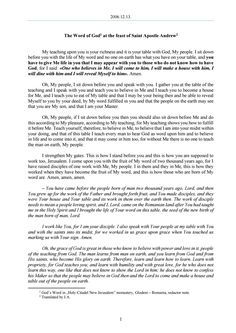 2006.12.13 - The Word of God at the feast of Saint Apostle Andrew