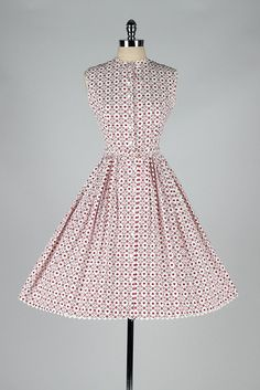vintage 1950s dress . white red cotton heart by millstreetvintage