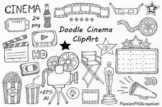 Doodle Cinema Clipart Hand drawn cinema clip art PNG EPS