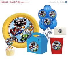 50% OFF SALE DIY Printable Rescue Bots Birthday Party Balloon, Toppers, Circle stickers, kisses