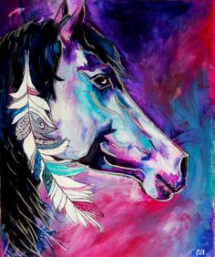 Native American Horse with Feather - Original Art Print