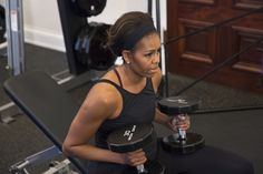 First lady Michelle Obama demonstrates exercises to inspire fitness. (Amanda Lucidon/The White House)